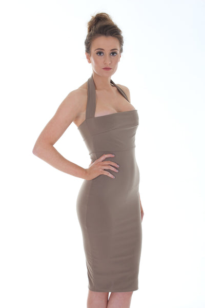 Khaki halterneck bodycon dress