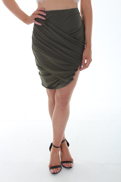 Khaki wrap mini skirt