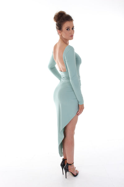 Mint green high split maxi dress