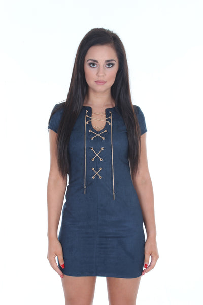 Navy suedette mini dress