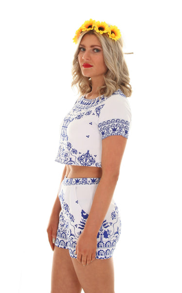 Navy & white porcelain two piece