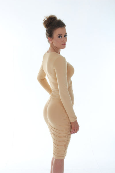 Nude cut out bodycon dress