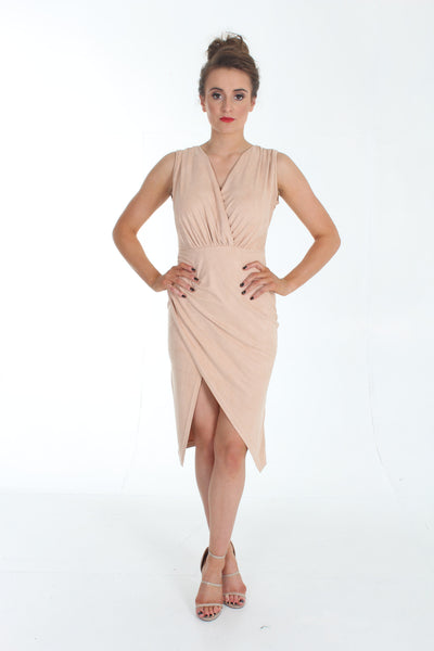 Nude suedette wrap slit midi dress