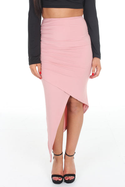 Pink draped asymmetric skirt