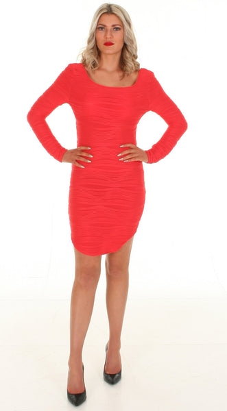 red crossover back bodycon dress