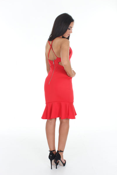 Red cut out bodycon mini dress