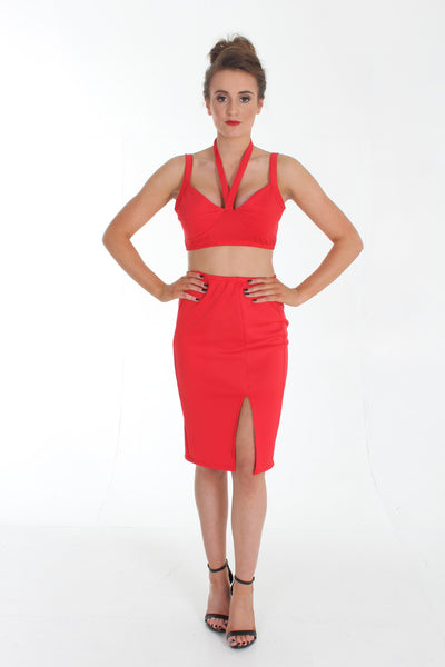 Red halter two piece