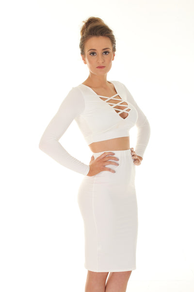 White criss cross Bodycon two piece