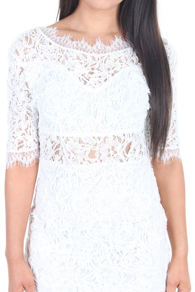 White crochet lacy V back mini dress