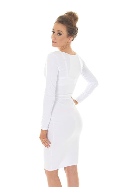 White crossover bodycon dress