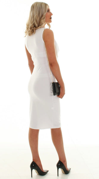 White draped bodycon dress