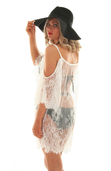 White sheer lace cover up