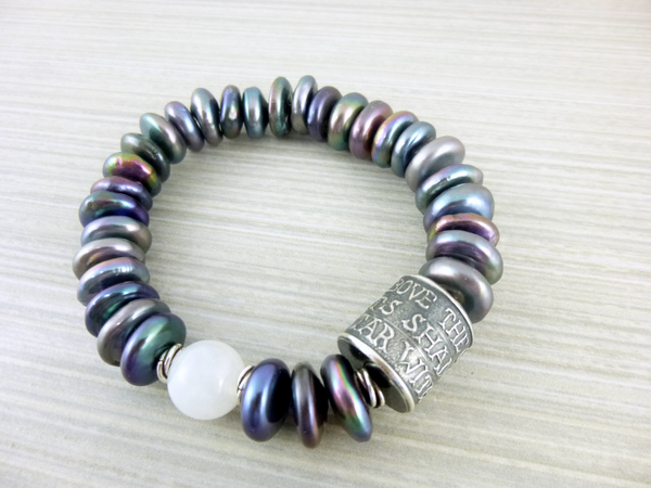 Pearl Bracelet with Anne Choi Handmade Silver Bead - Earth Energy Gemstones
