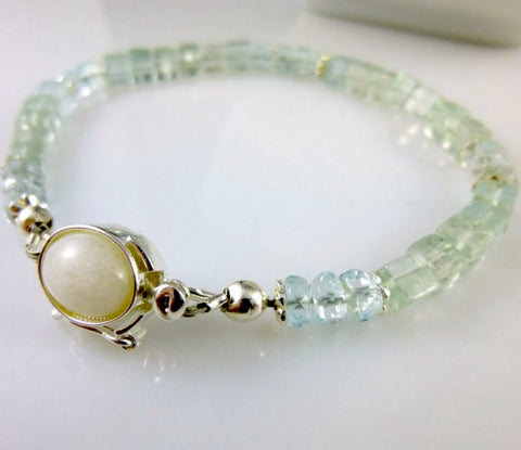 Reserved for CG: Aquamarine Bracelet, White Jade Clasp, Sterling Silver