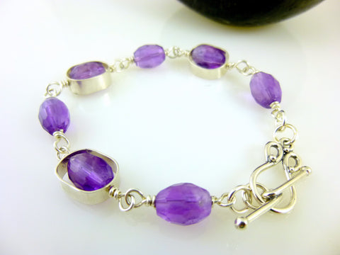 Amethyst & Sterling Silver Chakra Healing Crystals Bracelet