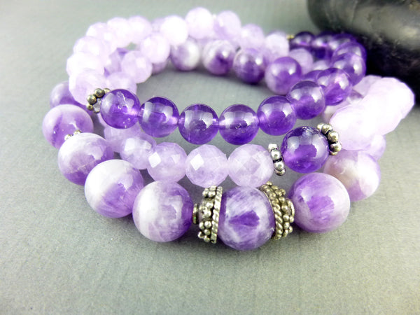 Bohemian Chakra Bracelet Set, Amethyst - Earth Energy Gemstones