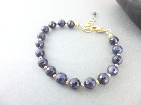 Blue Sapphire Throat Chakra Bracelet, 14K Gold Fill