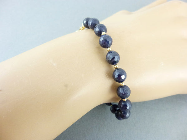 Blue Sapphire Chakra Bracelet, 14K Gold Fill - Earth Energy Gemstones
