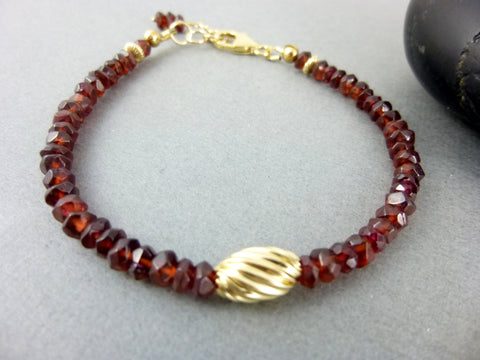 Garnet Bracelet, 14K Gold Fill, Chakra Bracelet - Earth Energy Gemstones