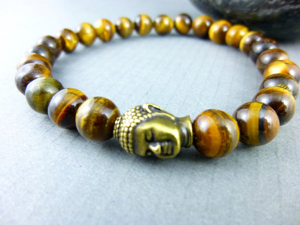 Men's Chakra Bracelet, Golden Tiger Eye - Earth Energy Gemstones