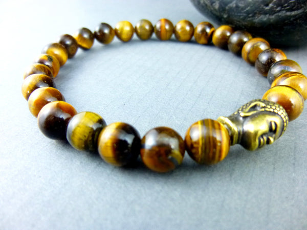 Men's Tiger Eye Buddha Bracelet, Attracts Wealth & Good Luck