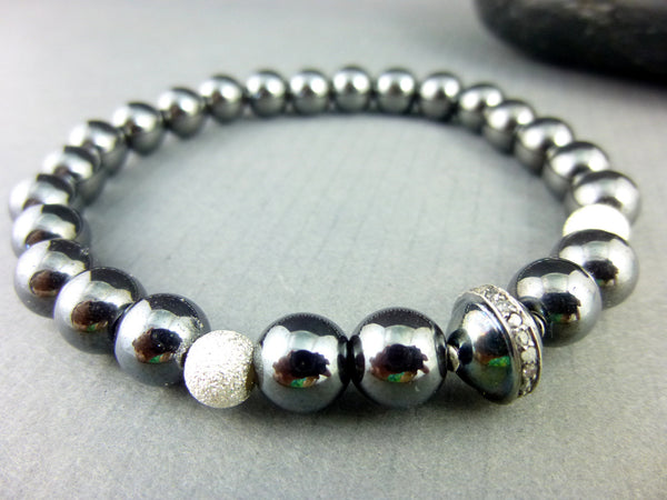 Hematite Stretch Bracelet, Pavé Diamonds - Earth Energy Gemstones