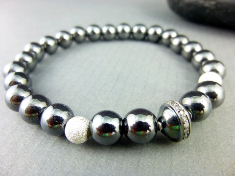 Pavé Diamonds & Hematite Chakra Bracelet, Winter Moon Collection