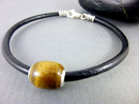 Men's Black Leather Bracelet, Tiger Eye Root Chakra, Sterling Silver - Earth Energy Gemstones
