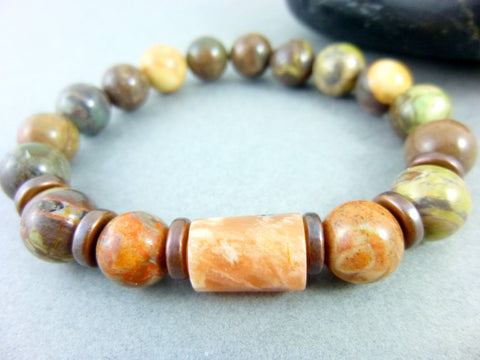 Peach Moonstone Chakra Bracelet, Ocean Jasper - Earth Energy Gemstones