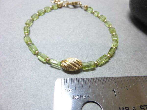 August Birthstone Bracelet, Genuine Peridot & 14K Gold Fill, Banishes Apathy