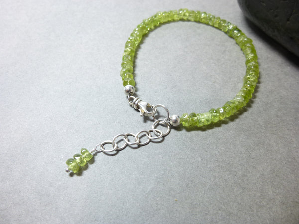 Peridot Bracelet, Sterling Silver, August Birthstone, Reduce Stress, Anger, Guilt
