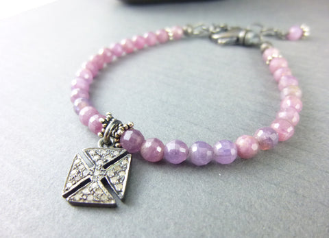 Pink Sapphire Bracelet with Pavé Diamond Charm, Throat Chakra
