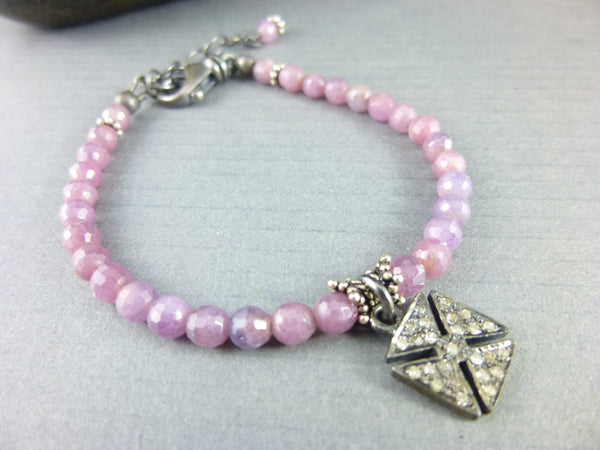 Pink Sapphire Bracelet, Pavé Diamonds, Throat Chakra - Earth Energy Gemstones