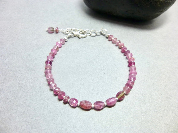 Shaded Pink Tourmaline Heart Chakra Bracelet, Sterling Silver - Earth Energy Gemstones