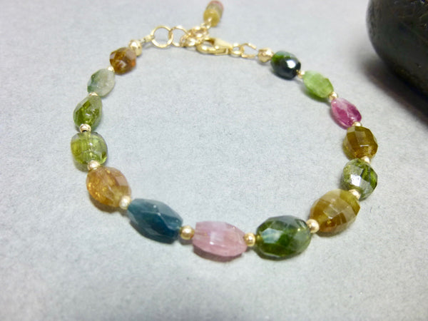 Tourmaline Chakra Bracelet, 14K Gold Fill, October Birthstone