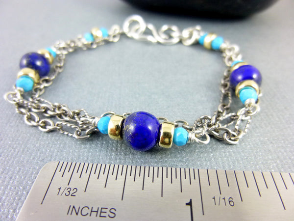 Sleeping Beauty Turquoise Bracelet, Lapis Lazuli, Throat Chakra - Earth Energy Gemstones