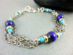 Sleeping Beauty Turquoise & Lapis Lazuli Bracelet, Throat Chakra Bracelet, Sterling