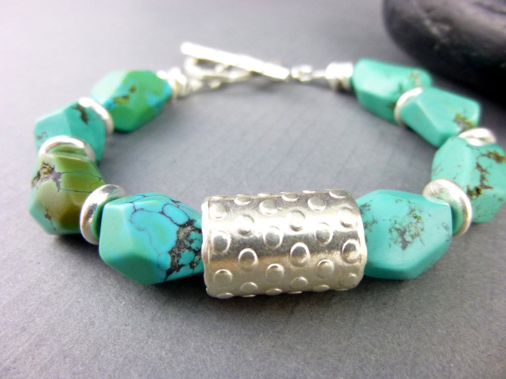 Turquoise Throat Chakra Bracelet, Bisbee Turquoise - Earth Energy Gemstones