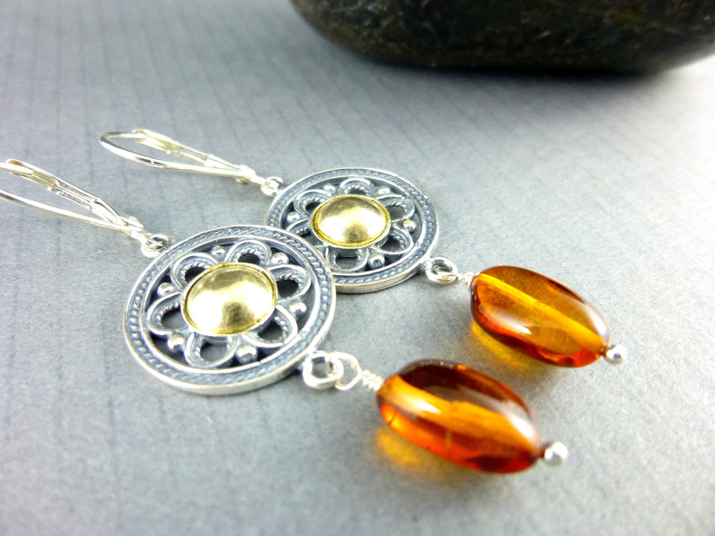 Natural Baltic Amber Crown Chakra Earrings