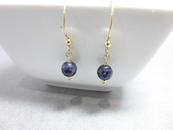 Genuine Blue Sapphire & 14K Gold Fill Earrings, Joy, Prosperity, September Birthstone