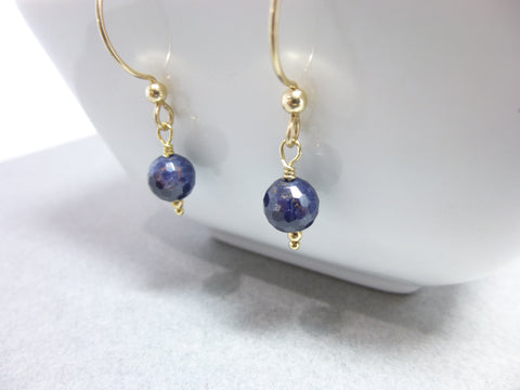 Sapphire and 14K Gold Fill Earrings, September Birthstone, Prosperity, Peace of Mind