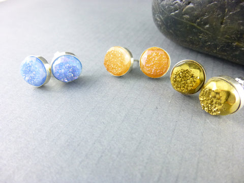 Druzy Gemstone Post Earrings, Chakra Earrings, Sterling Silver - Earth Energy Gemstones