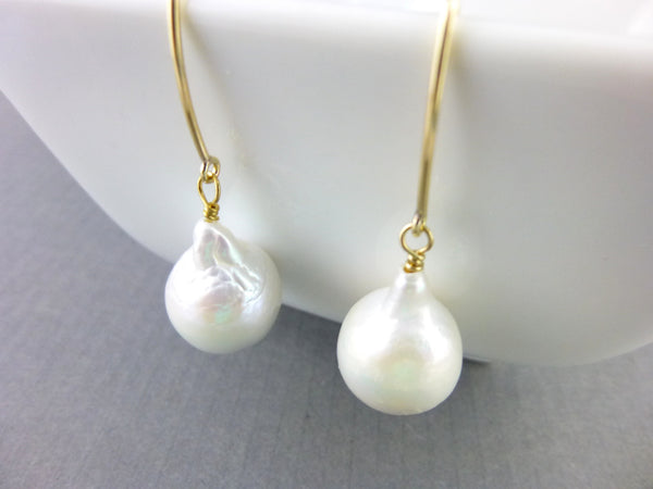Baroque Flameball Pearl Earrings, Chakra Earrings - Earth Energy Gemstones