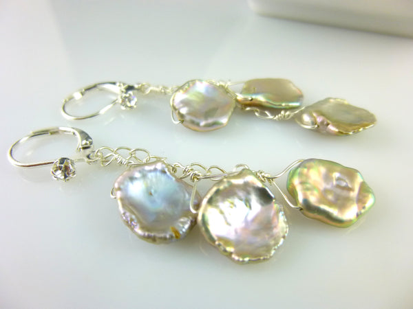 Keshi Pearl Earrings, Pale Lavender & Taupe, Sterling Silver - Earth Energy Gemstones