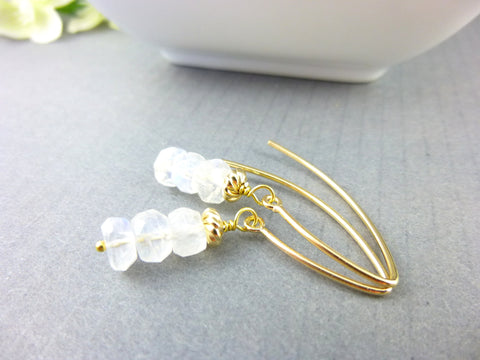 Rainbow Moonstone Chakra Earrings 14K Gold Fill - Earth Energy Gemstones