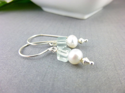 Aquamarine Chakra Earrings, with Pearls - Earth Energy Gemstones