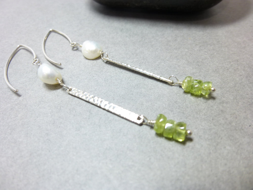 Peridot and Pearl Long Earrings, Sterling Silver, Opens Heart to Joy