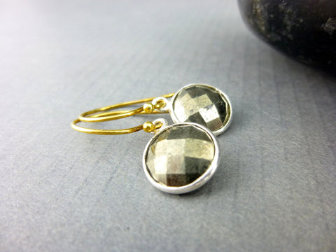 Gold Pyrite Earrings, Vermeil & Sterling Silver Chakra Earrings