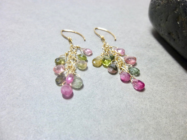 Multi-color Tourmaline Chakra Earrings 14K gold fill October Birthstone - Earth Energy Gemstones