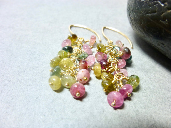Colorful Tourmaline Cluster Earrings, 14K Gold Fill, October Birthstone - Earth Energy Gemstones